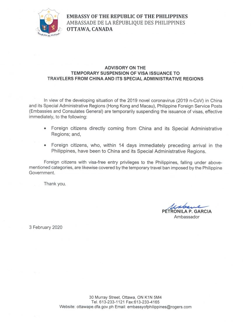 ADVISORY ON THE TEMPORARY SUSPENSION OF VISA ISSUANCE TO TRAVELERS FROM CHINA AND ITS SPECIAL ADMINISTRATIVE REGIONS