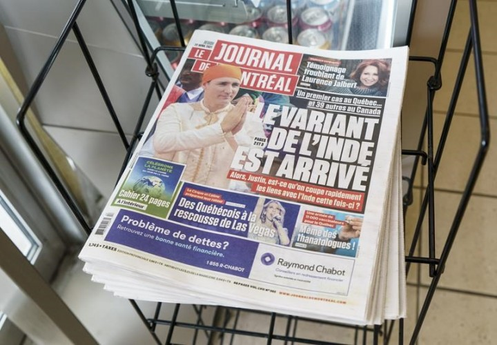 COVID-19: Montreal newspaper blasted for front-page photo of Trudeau in India