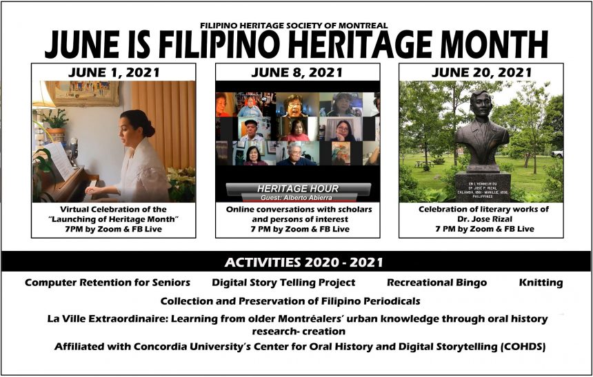 The Filipino Heritage Society of Montreal invites Fil-Cans across Canada to celebrate Filipino Heritage Month